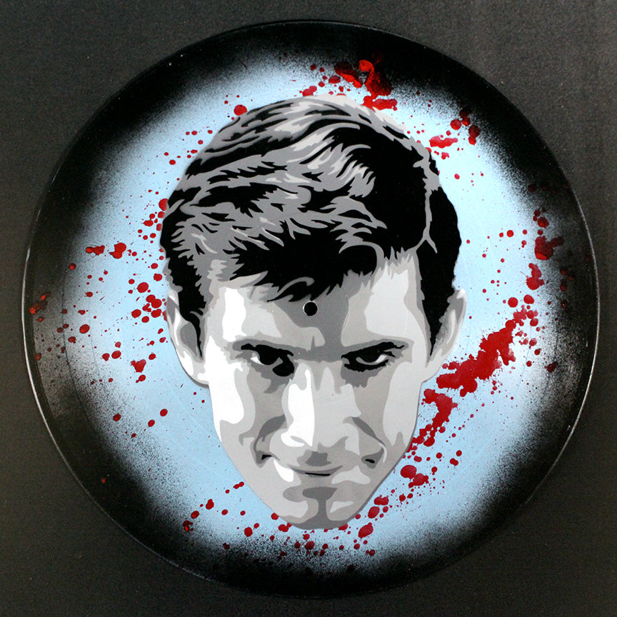 Norman Bates Psycho Alfred Hitchcock Spray Paint and Stencil Vinyl Record Art