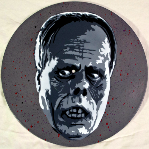 Phantom of the Opera Spray Paint and Stencil Vinyl Record Art
