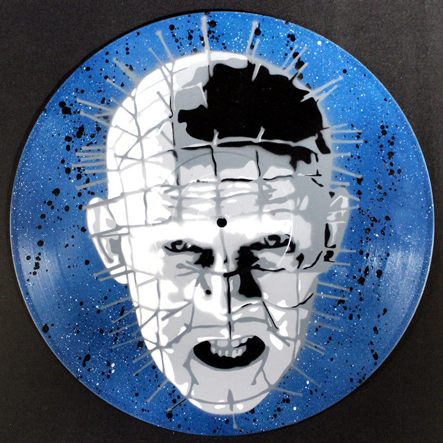 Pinhead Hellraiser Spray Paint and Stencil Vinyl Record Art