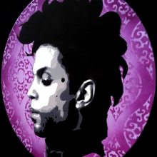 Prince Purple Rain Spray Paint and Stencil Vinyl Record Art