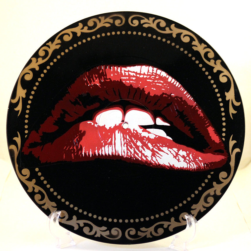 Rocky Horror Picture Show Lips Spray Paint and Stencil Art on Viny Record
