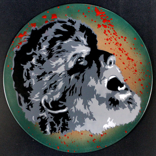 Wolfman Spray Paint and Stencil Vinyl Record Art