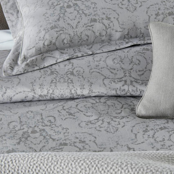 pewter Bella jacquard shams and duvet cover detail shot