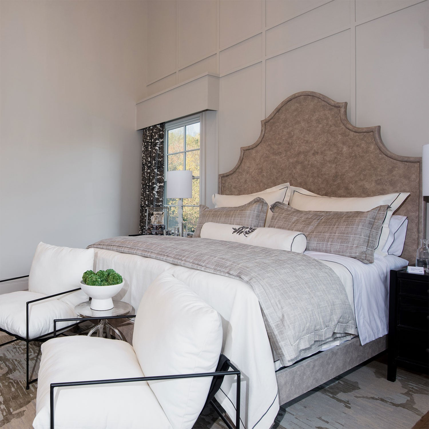 Rio Linen coverlet, shams and decorative pillows shown in Pearl, Melody Sheet Set, Biagio Duvet in Linen