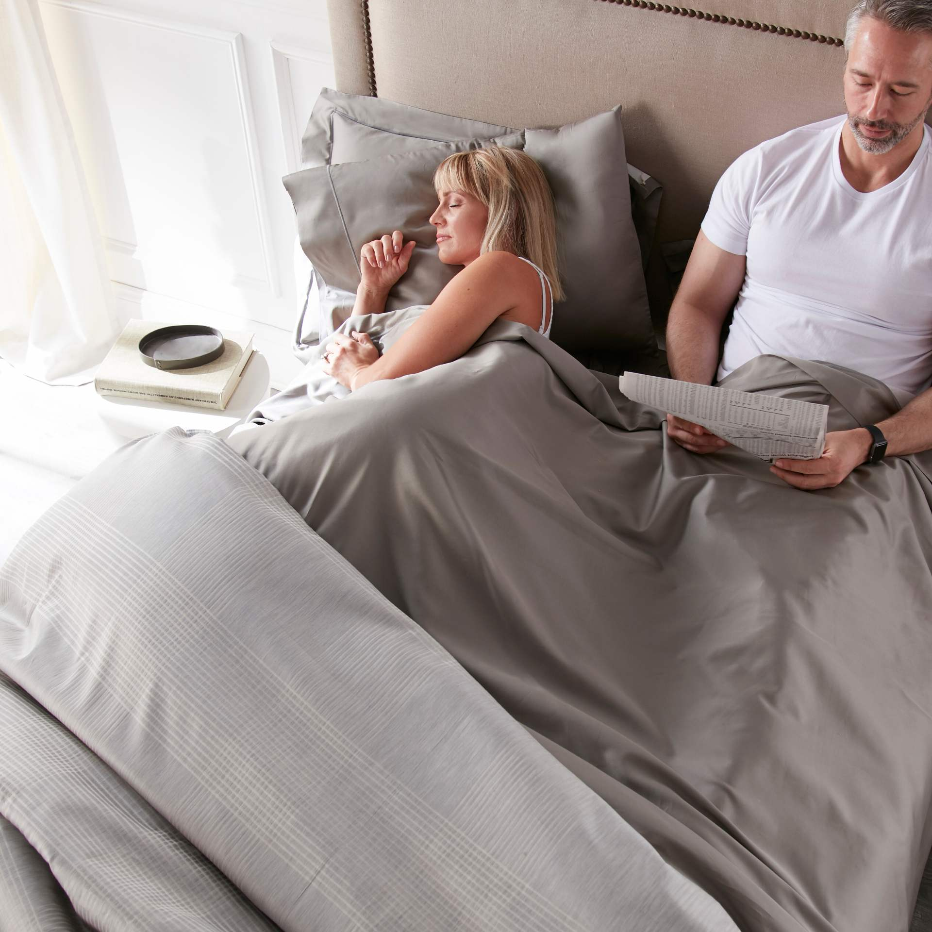 Soprano sheets, duvet and shams in Pewter