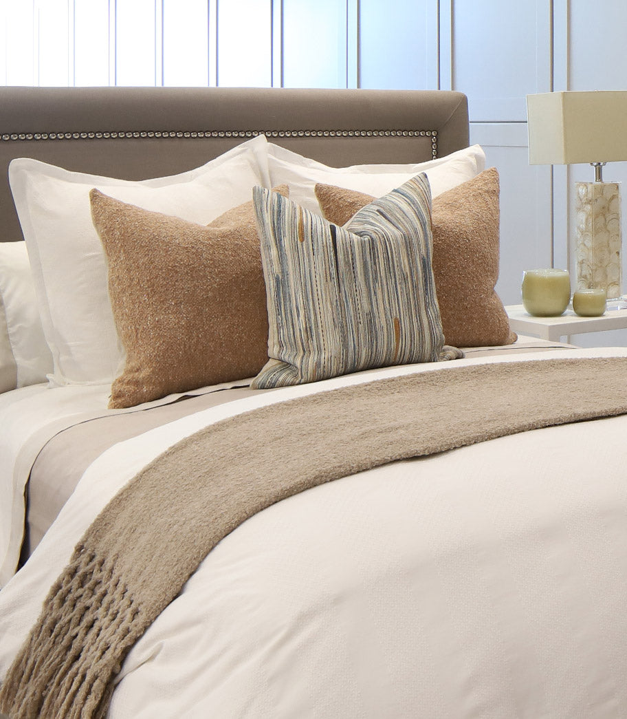 Channing Duvet, Angelina coverlet in Linen and Mandalay Cuff Sheet Set
