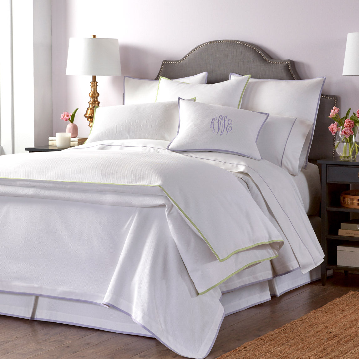 Pique Bed Skirt shown with Pique coverlet, duvet and shams.