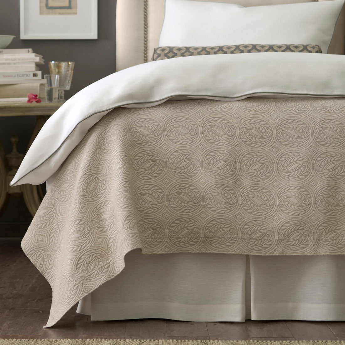 Rio Bed Skirt shown with Vienna coverlet in linen and Mandalay Duvet Cover