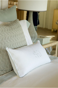 Closeup of pillows in various shades and textures