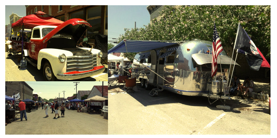 Classic cars, vendor booths lining the street, and the Peacock Alley Airstream in Hico, TX