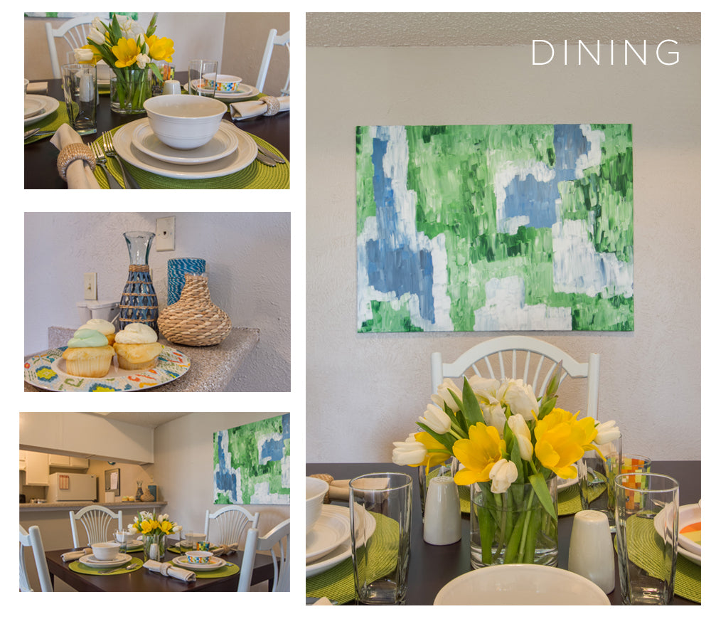 A chic dining room with yellow, blue, and green accents and a nicely set table