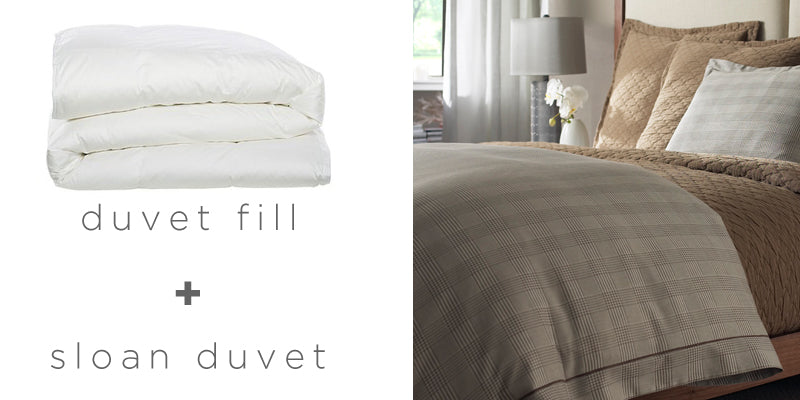 A duvet on a neutral toned bed with several different textures to add depth