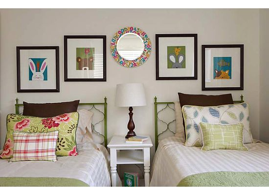 Colorful animal prints add a playful spirit to this kids' bedroom