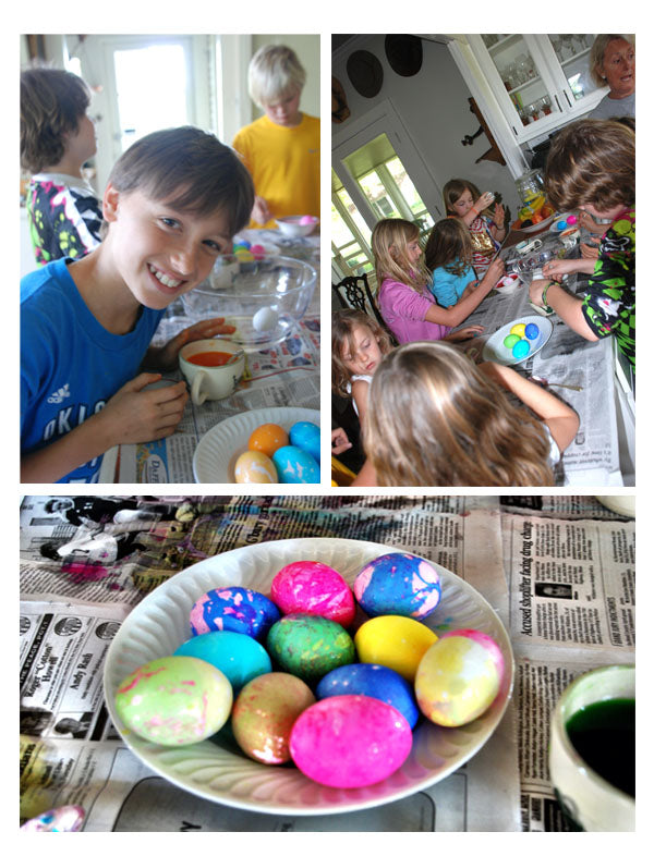 Kids having fun dying eggs, and the some of the finished designs