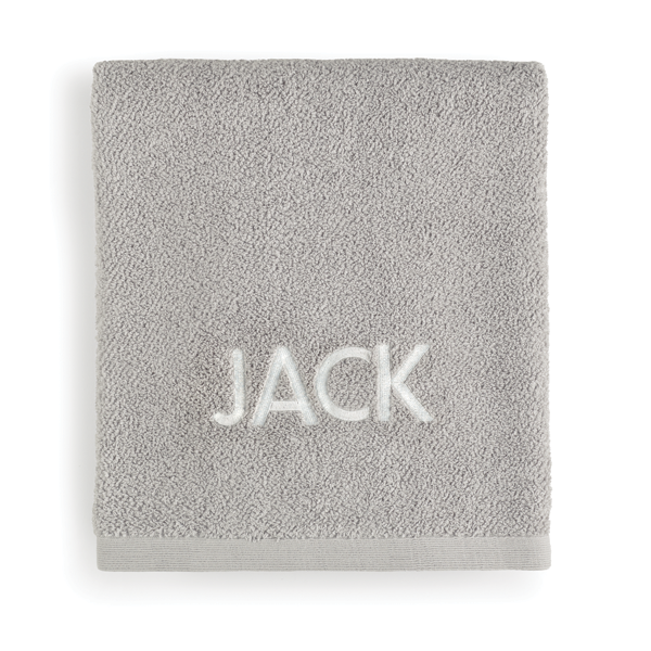Gray towel with the name Jack embroidered in white