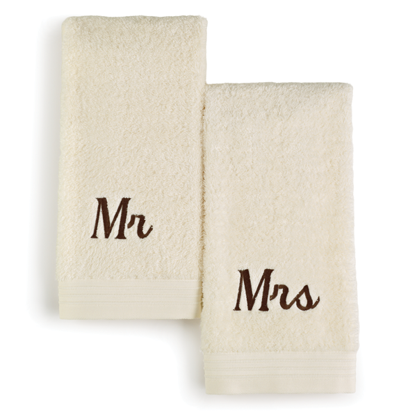 Towels embroidered with Mr and Mrs