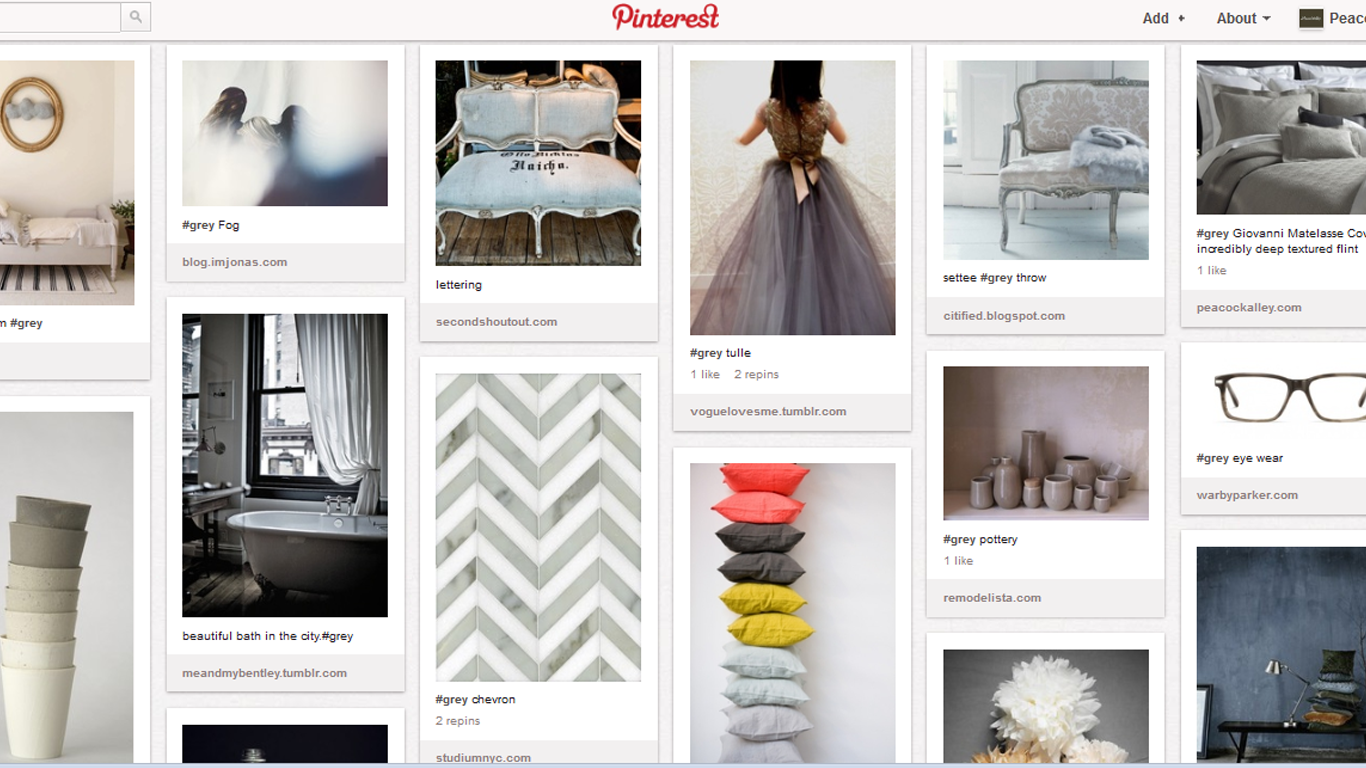 A screenshot of the Grey board on Pinterest