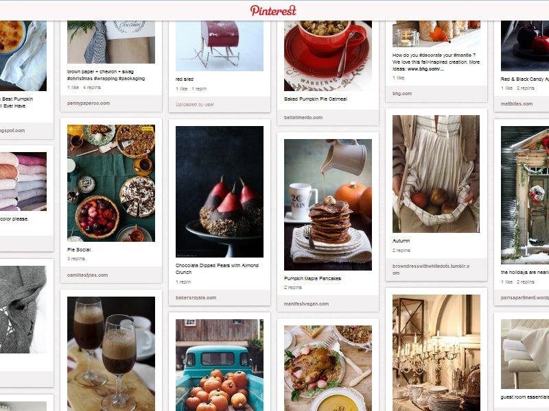 Screenshot of the Holidy Homestead Pinterest board with ideas for food, decor, and more