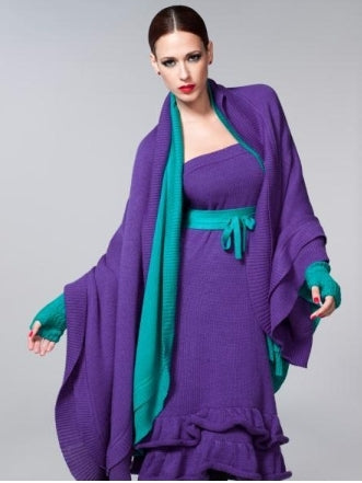 Purple knit ruffled dress and shawl with aqua contrast edging, gloves, and belt
