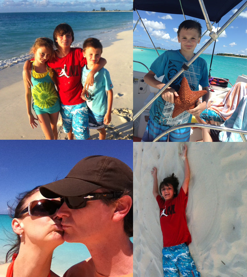 A collage of Needleman Family Fun in Turks + Caicos.