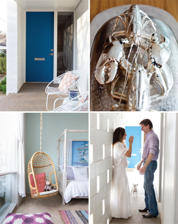 Collage of four decor images from the Needleman home, featured in D Home magazine
