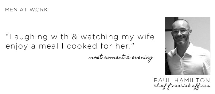 Paul Hamilton's most romantic evening is laughing with & watching my wife enjoy a meal I cooked for her