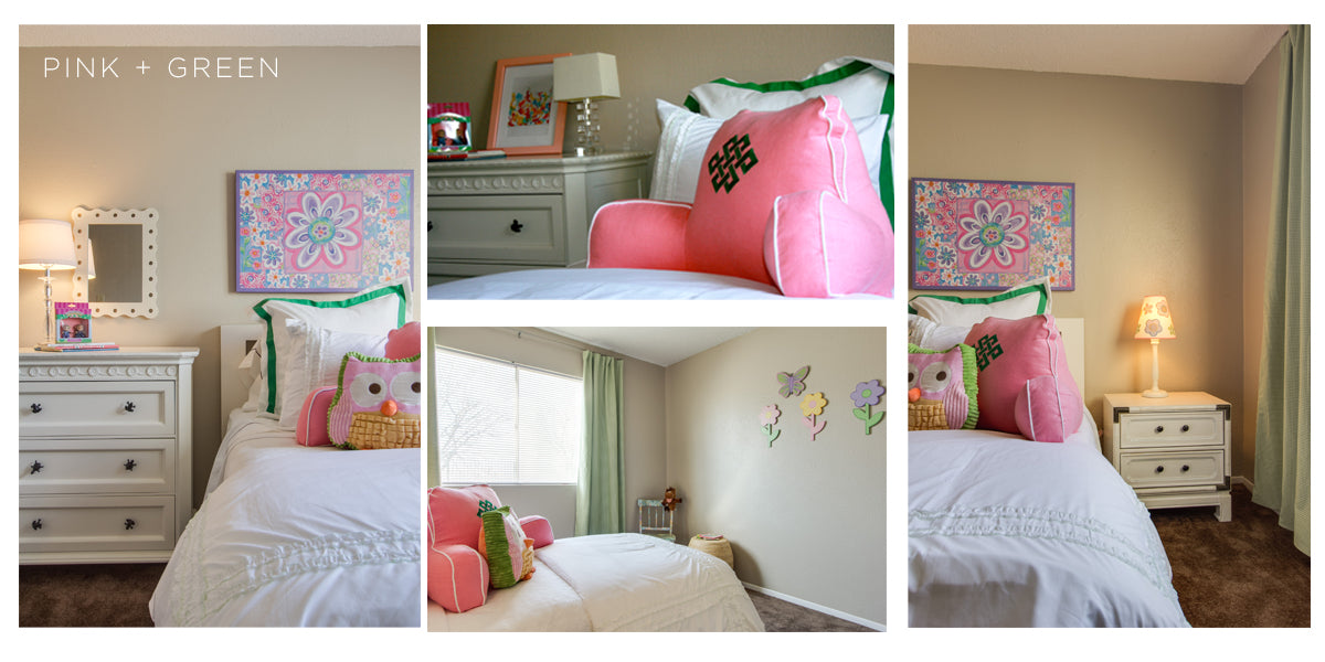 The perfect little girl's room with a white bed and accents of pink and green