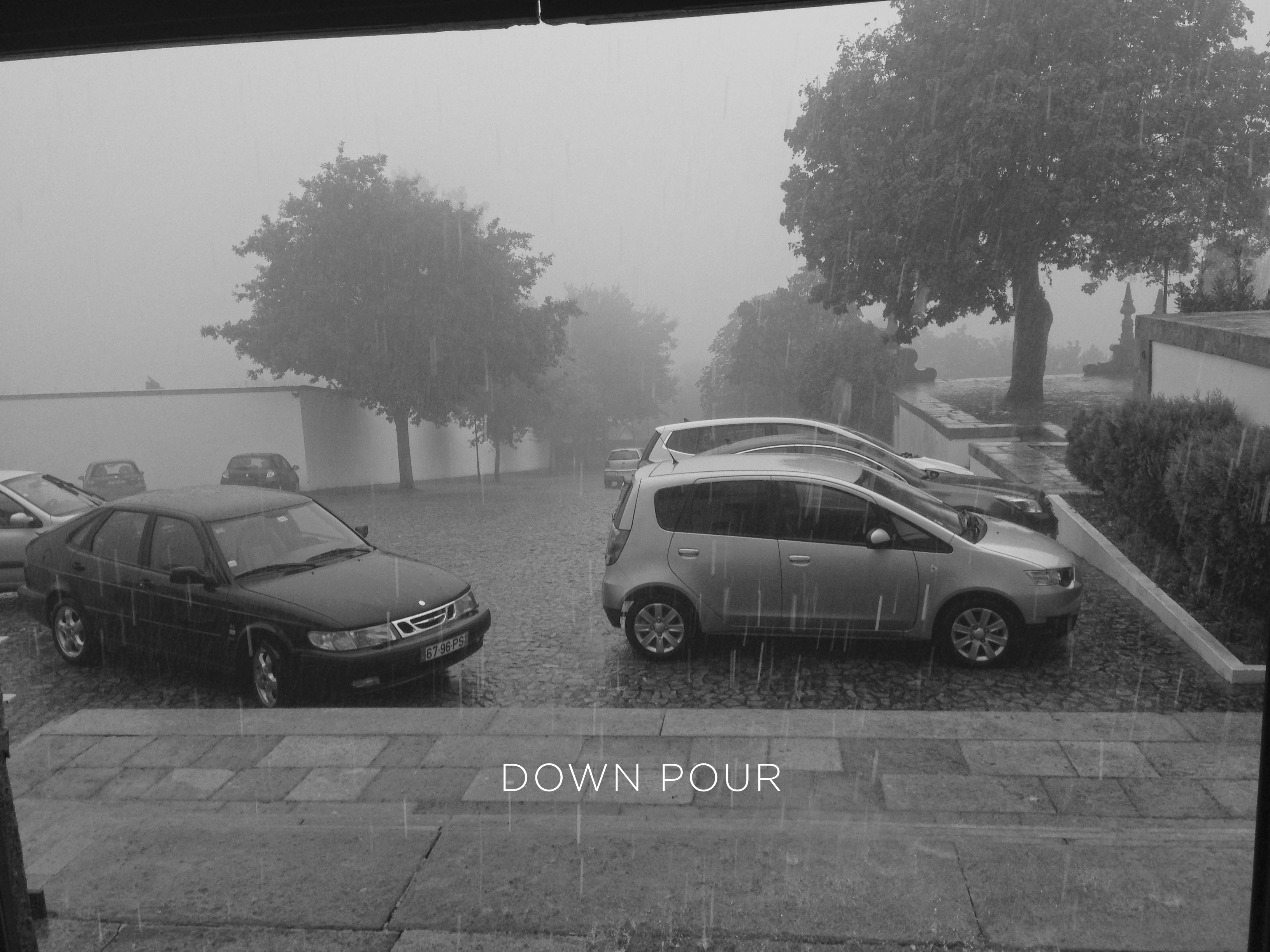 A down pour in the parking lot in Portugal