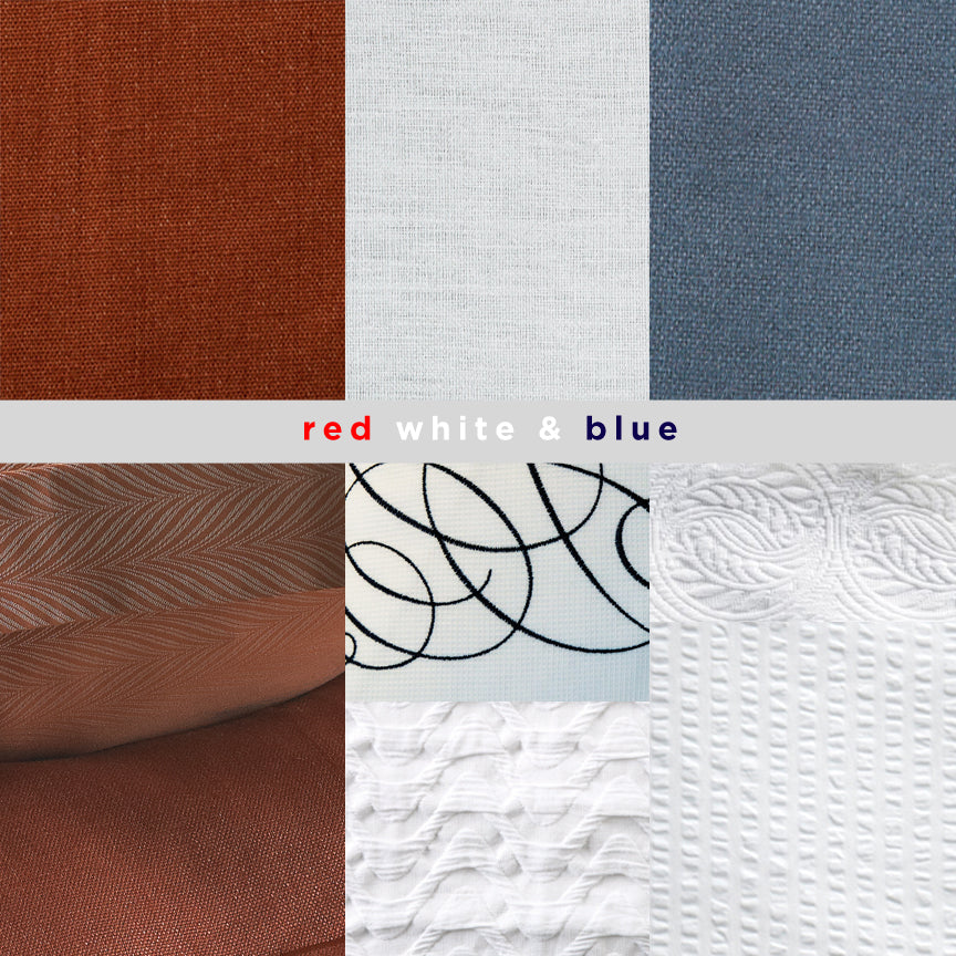 A selection of fabrics in red, white, and blue