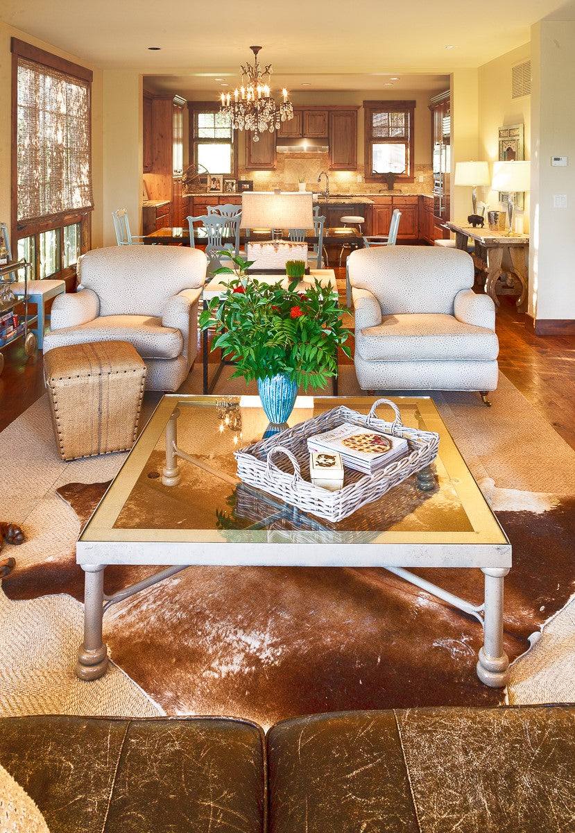 Josh Needleman's living room in Idaho, styled with a western country flavor