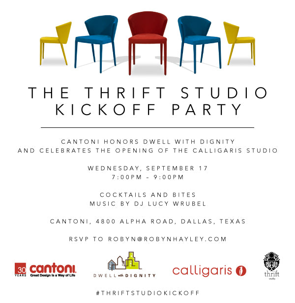 Invite for Dwell with Dignity's Thrift Studio Kickoff Party 2014