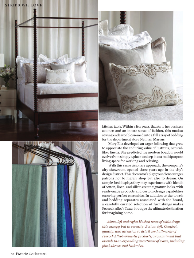 Peacock Alley spread continued in Victoria Magazine, October 2014