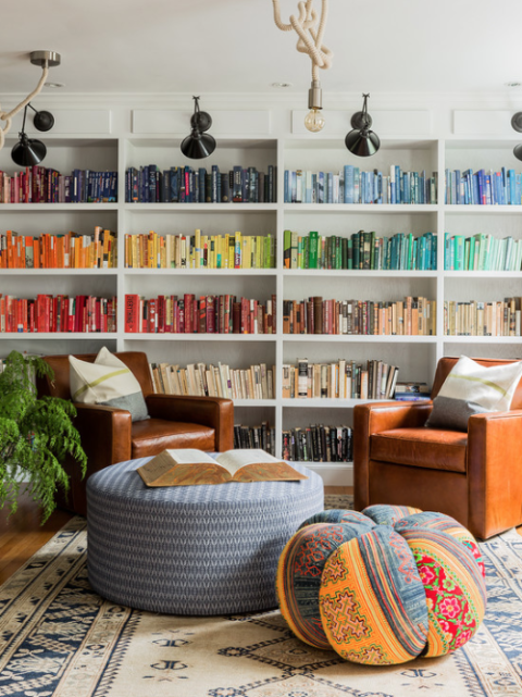 Colorful bookshelves with comfortable seating for reading