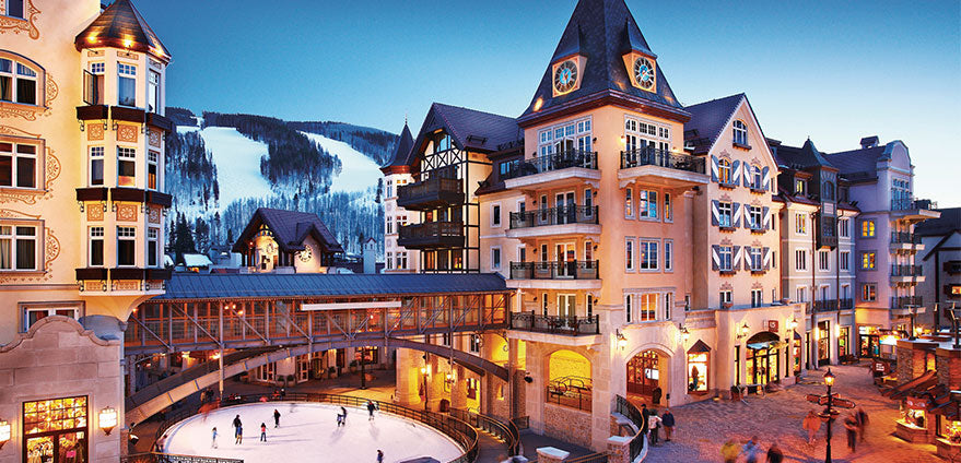 The Arrabelle resort at Vail Square. The resort's ice rink and a few ski runs can be seen.