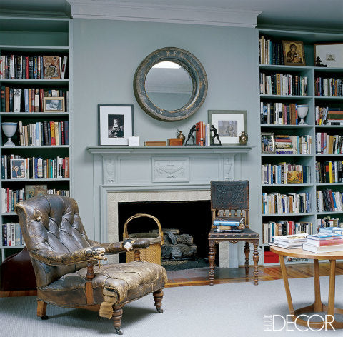 Nicely arranged bookshelves flanking a fireplace