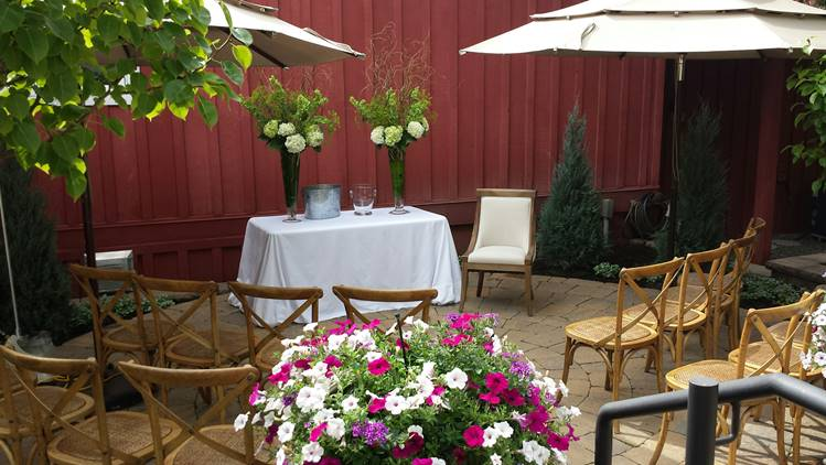 Presentation set up on an outdoor patio at The Picket Fence in Ketchum, Idaho