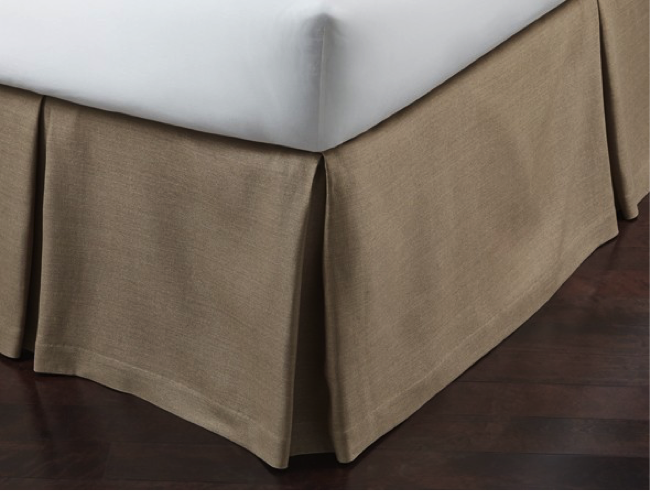 Tailored and pleated linen bedskirt in driftwood