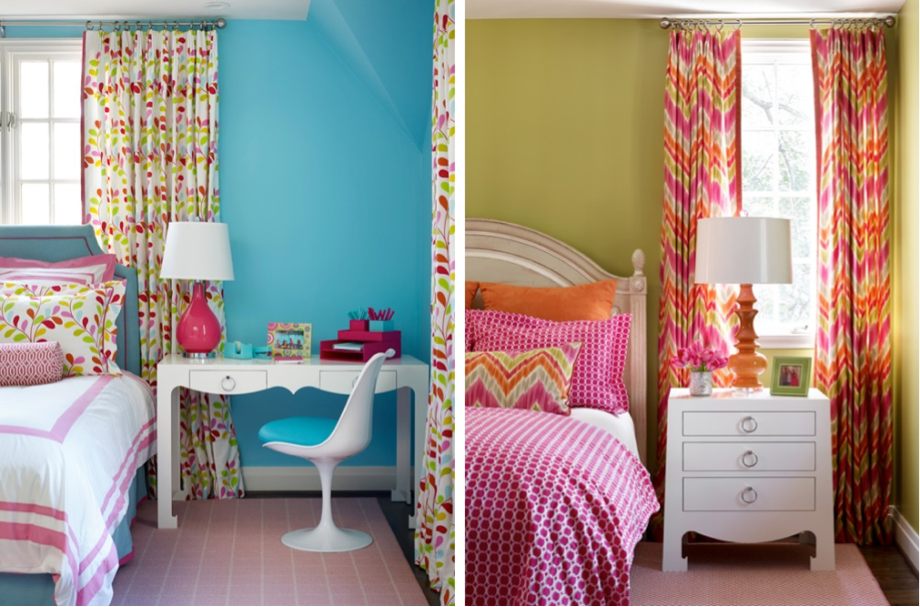 Brightly colored childrens' rooms in aqua, hot pink, and lime