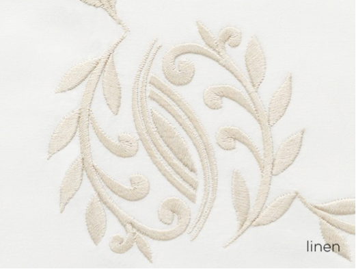 Close up of Vienna embroidery in linen