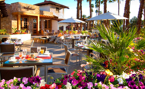 Cafe patio with colorful flowers