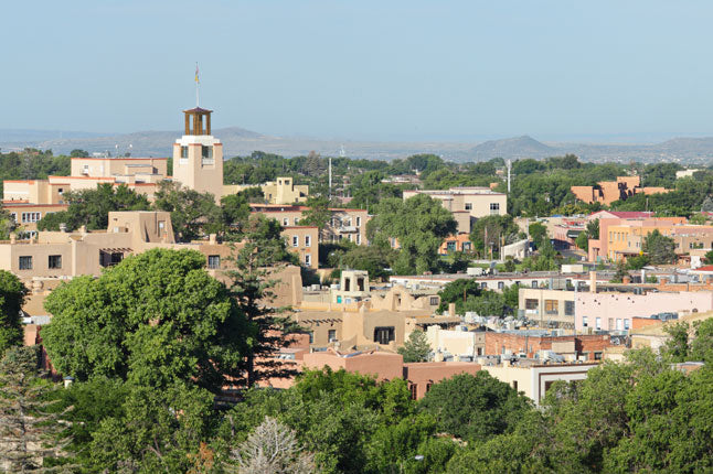 The clean lines of adobe buildings large and small in Santa Fe, New Mexico