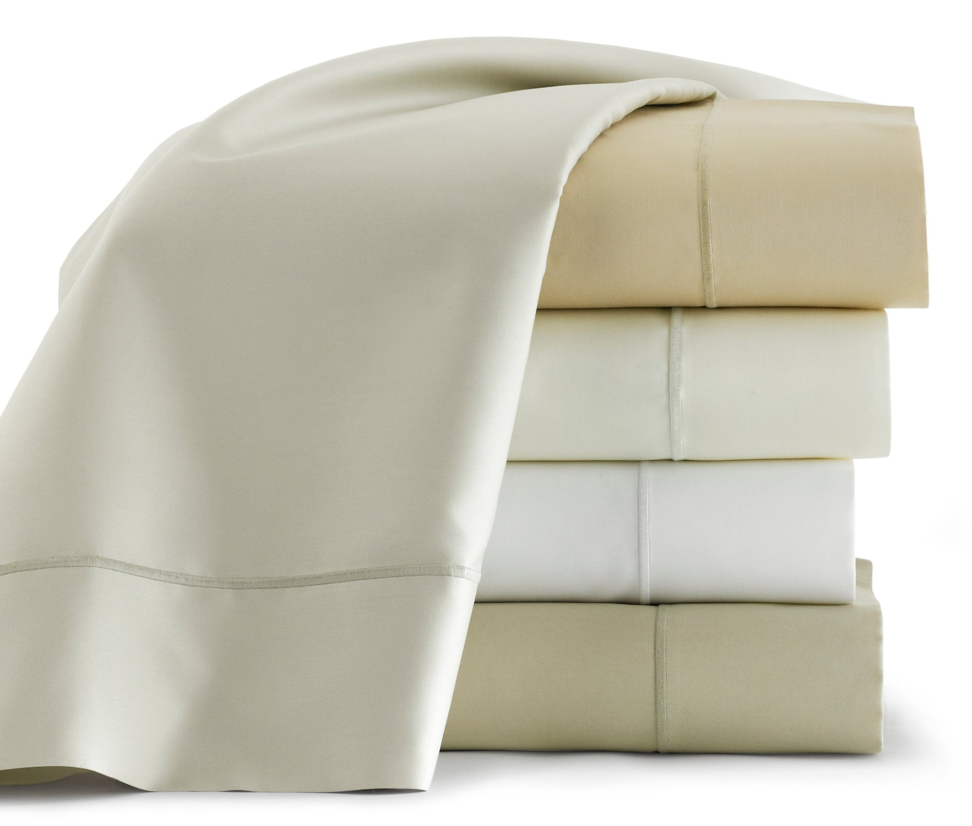 Stack of folded sheets in various neutral colors