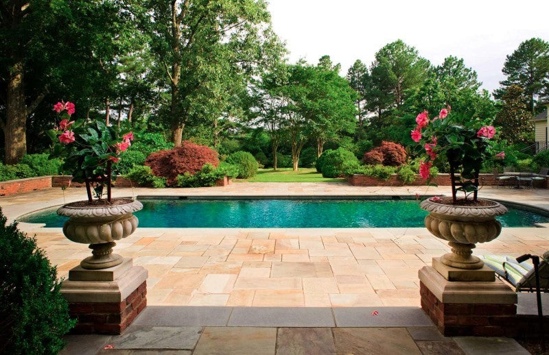 A serenely landscaped pool