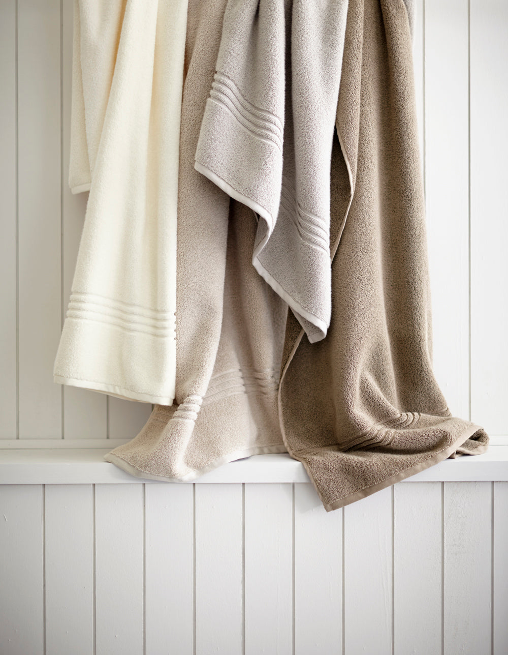 Chelsea Bath Towels from Peacock Alley in various neutral shades