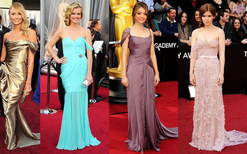 Stacy Keibler in Marchesa; Missi Pyle in Valentina Delfino (a hand-dyed organic silk gown that won the submission in the Red Carpet Green Dress competition which aims to promote eco-friendly elegance); Sarah Hyland in Alberta Ferretti; Kate Mara in Elie Saab