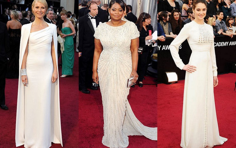 Gwyneth Paltrow, Octavia Spencer, and Shailene Woodley in white gowns on the red carpet at the Academy Awards
