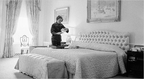 First Lady Betty Ford saying goodbye to her White House bedroom on moving day