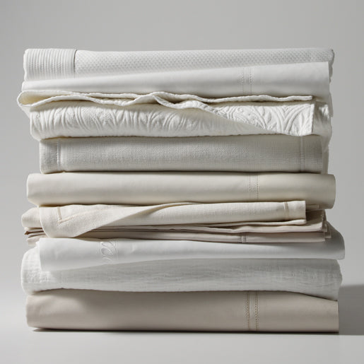 Various coverlets in White, Ivory and Linen colors
