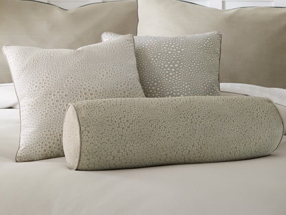 Oliver Decorative Pillows in a neutral shade with organic spotted detail