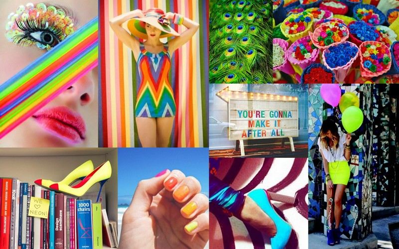 Bright neon colors in beauty, fashion, and decor